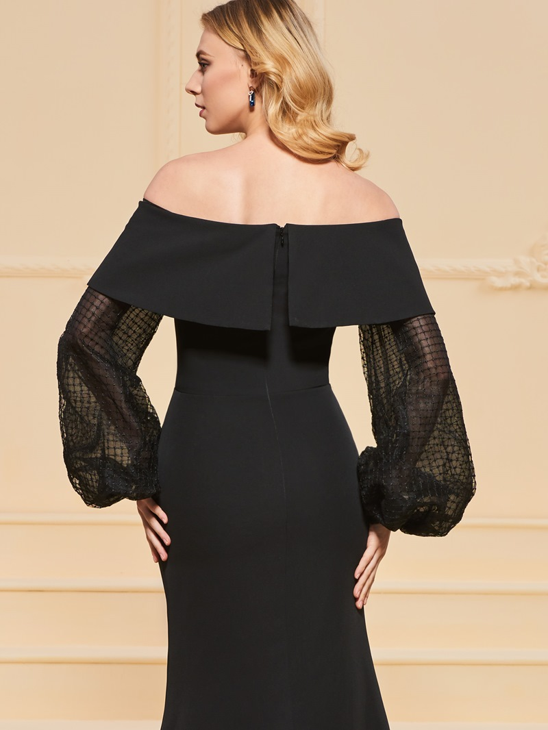 Ericdress Off The Shoulder Long Sleeve Black Mermaid Evening Dress