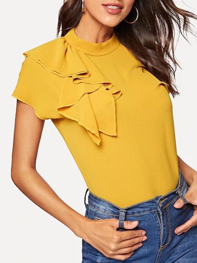 Ericdress Stand Collar Short Sleeve Summer Elegant T-Shirt