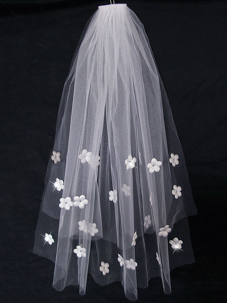 Milanoo Wedding Veil Comb Flowers Applique Tulle One Tier White Bridal Veils