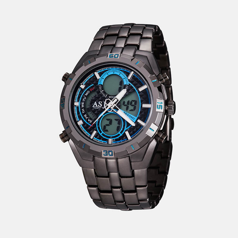 Sports Men Watch Double Display Chronograph Dive Alarm Multifunctional Quartz Watch