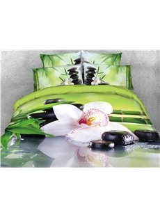 Vibrant Flower and Cobblestone Bamboo Printed 4-Piece 3D Bedding Sets/Duvet Covers