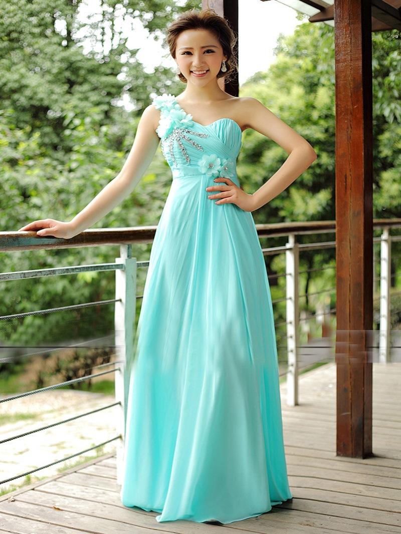 Beautiful A-Line One-Shoulder Flower Floor Length Bridesmaid Dress