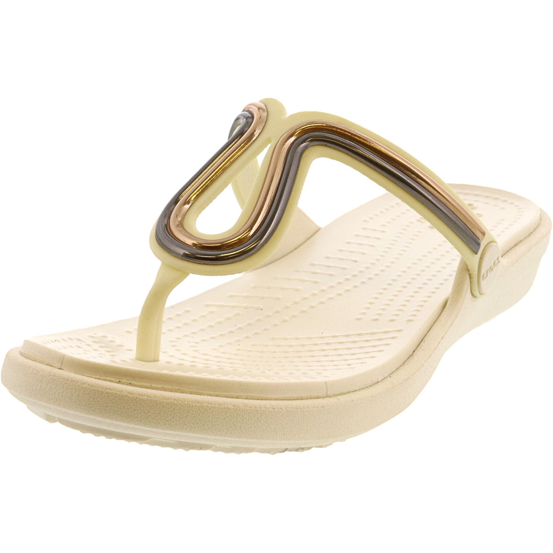 Crocs Women's Sanrah Metalblock Flat Flip Multi Rose Gold / Oyster Sandal - 4M
