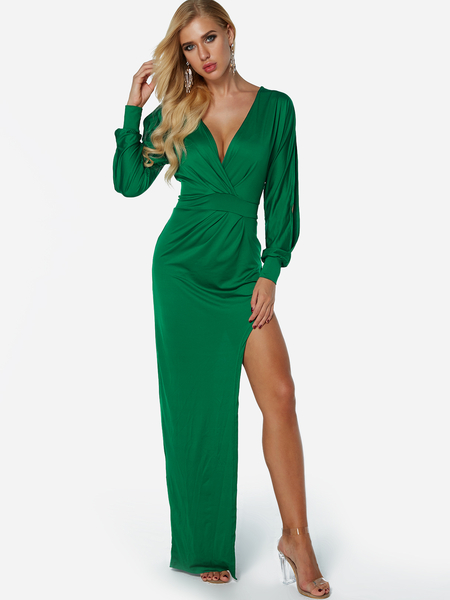 Yoins Green Splited Design Deep V Neck Long Sleeves Maxi Dress