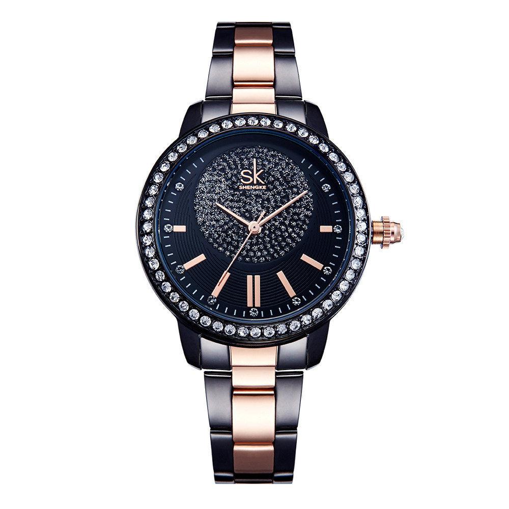Fashion Crystal Women Watch Dress Stainless Steel Quartz Watch Starry Dial Watch