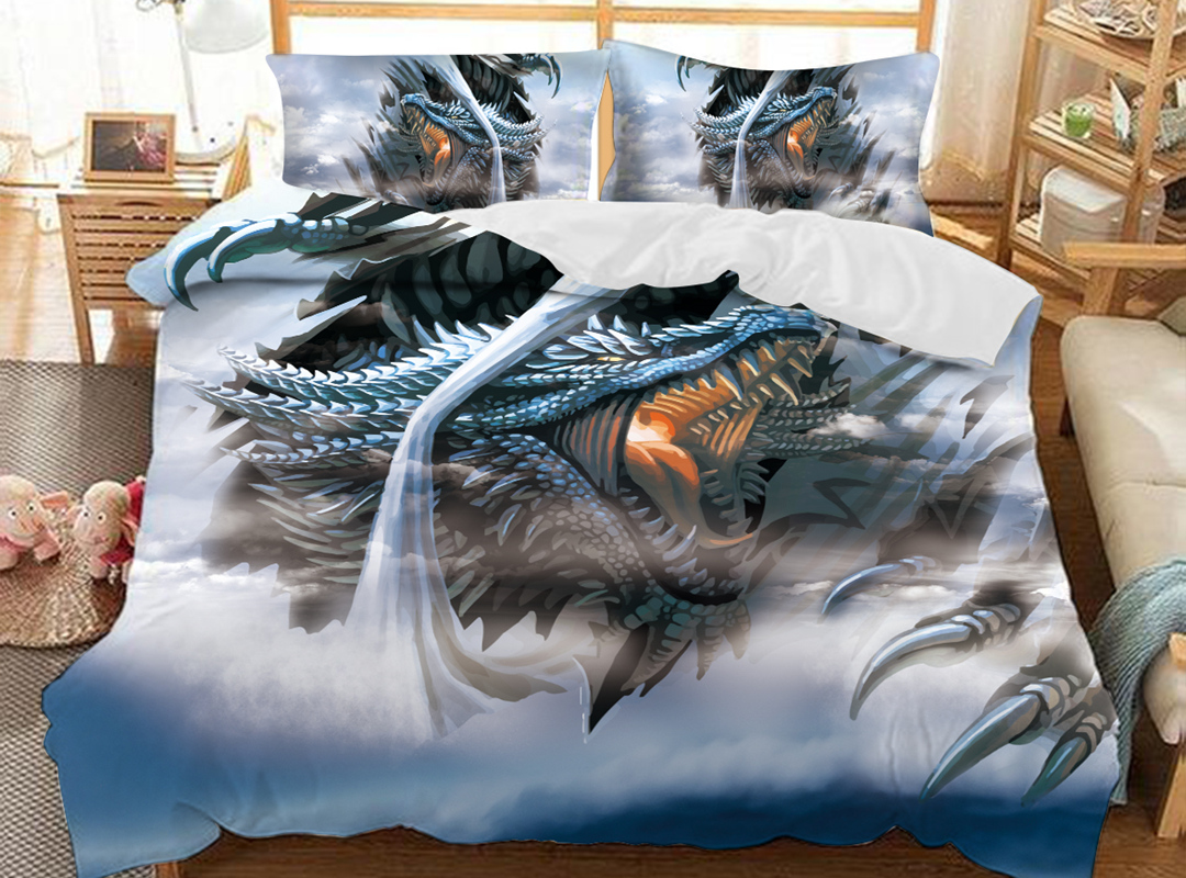 Dragon 3D Animal Duvet Cover Sets Soft 3-Piece Soft Durable Bedding Sets with 2 Pillowcases