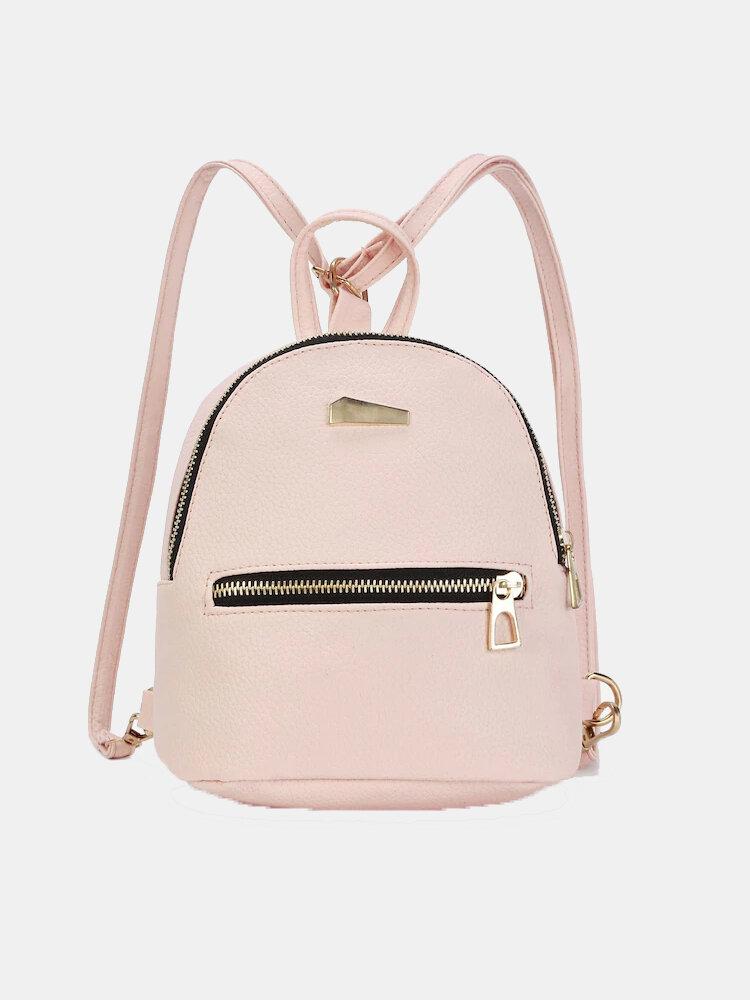 Women Metal Detail Front Zipper PU Mini Backpack