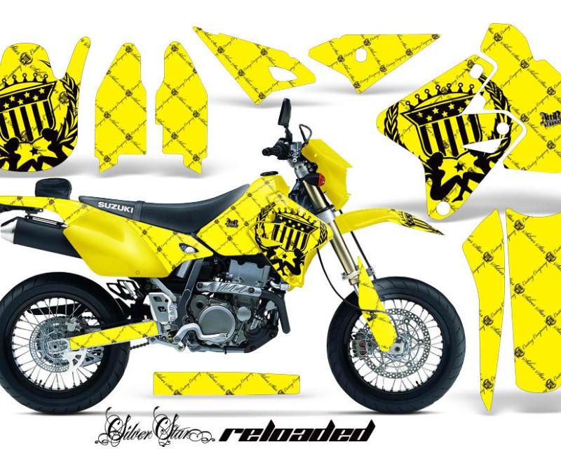 AMR Racing Dirt Bike Graphics Kit Decal Sticker Wrap For Suzuki DRZ400SM 2000-2018áRELOADED BLACK YELLOW