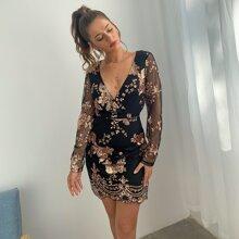 D&M Surplice Neck Sheer Mesh Sleeve Floral Sequin Dress