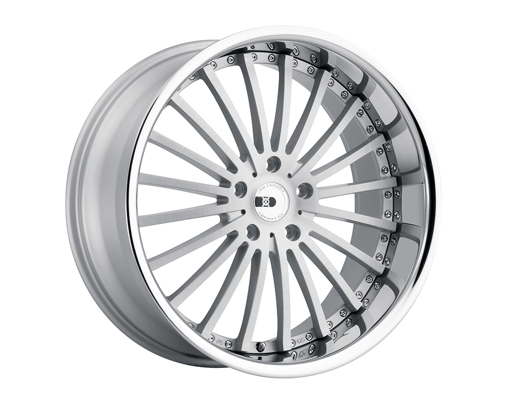 XO Luxury New York Wheel 22x9 5x120 20mm Silver w/ Brushed Face And Stainless Steel Lip