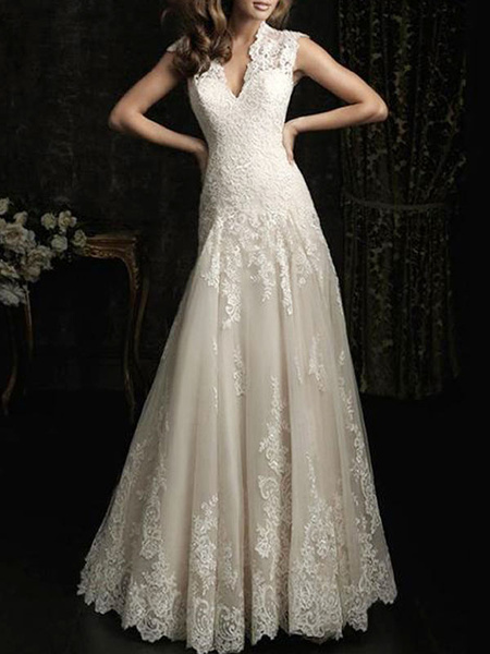 Milanoo Simple Wedding Dress 2020 Lace V Neck Sleeveless floor length backless Tulle Bridal Gowns with Train