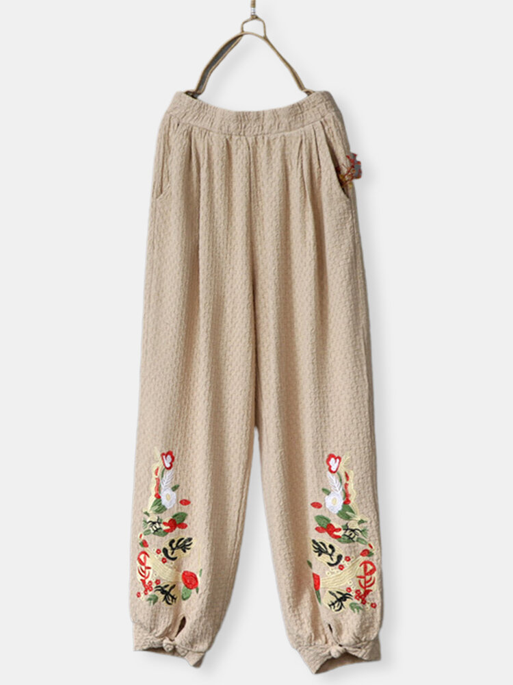 Vintage Embroidery Elastic Waist Frog Button Pants For Women