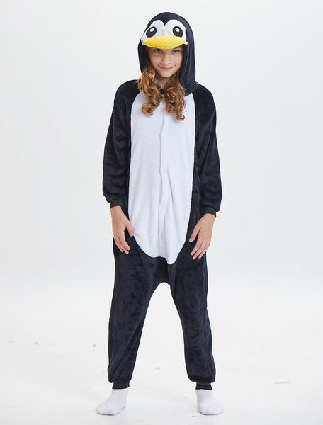 Milanoo Kids Penguin Kigurumi Onesie Pajamas Flannel Black Hooded Long Sleeves Winter Sleepwear Mascot Animal Halloween Costume