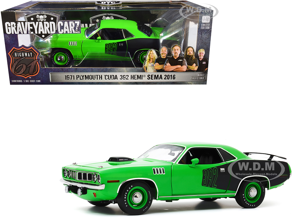 1971 Plymouth Barracuda Bright Green and Black with Custom Crate 392 HEMI Engine (2016 SEMA Show Unveil)