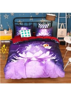 Dreamy Lotus and Butterfly Printed Cotton 4-Piece Purple 3D Bedding Sets/Duvet Covers