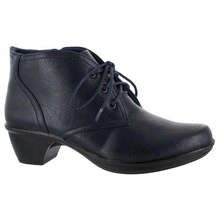 Easy Street Womens Debbie Block Heel Zip Bootie, 5 1/2 Medium, Blue
