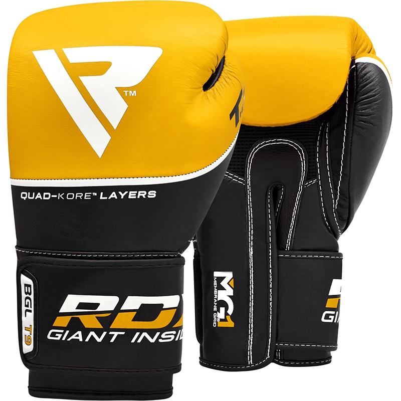 RDX T9 Leather Yellow 16oz Boxing Training Gloves Black Hook and Loop Men and Women Punching Muay Thai Kickboxing