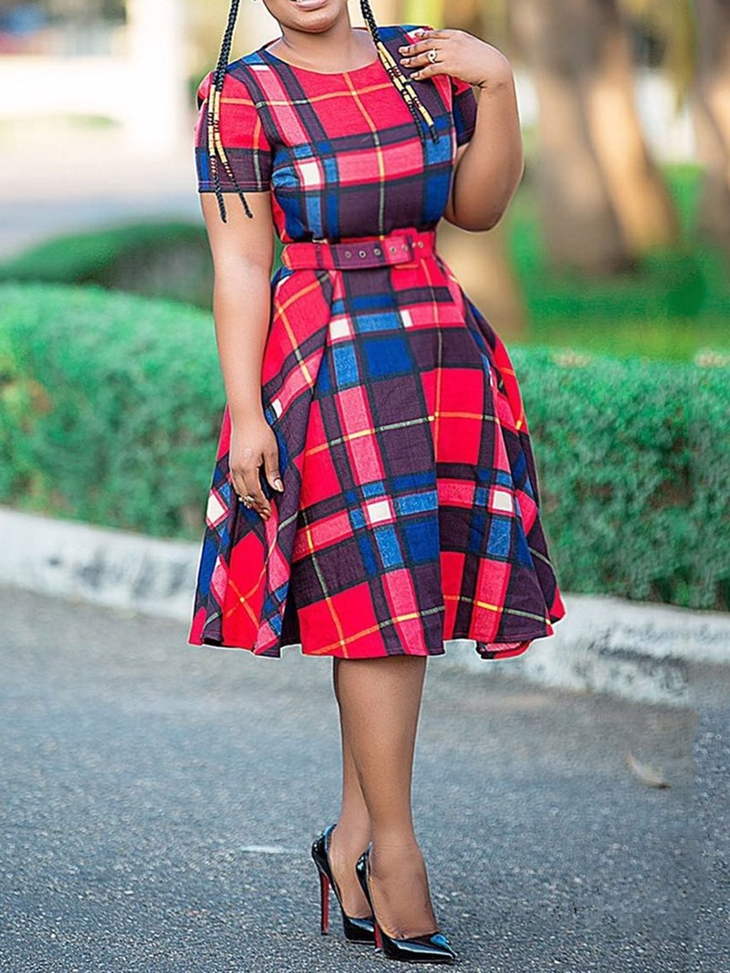 Ericdress Plaid Short Sleeve Round Neck Casual Dress