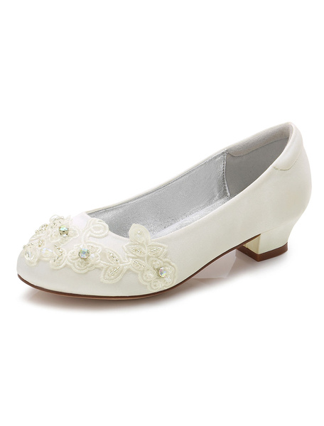 Milanoo Flower Girls Shoes White Round Toe Chunky Heel Flowers Pumps