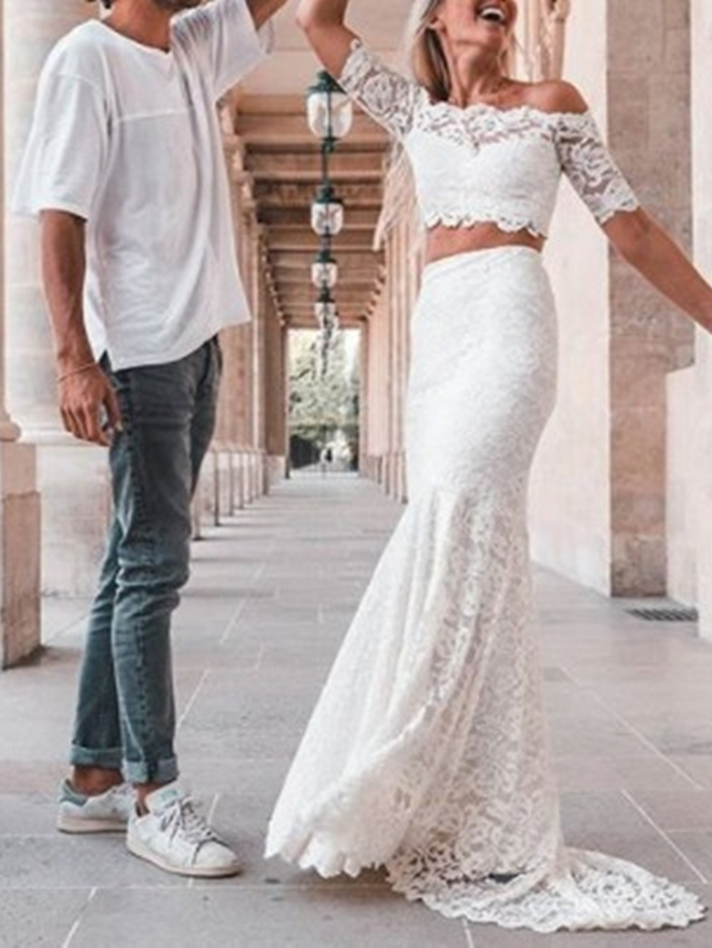 Ericdress Lace Trumpet/Mermaid Off-The-Shoulder Half Sleeves Garden/Outdoor Wedding Dress 2020