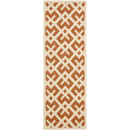 Safavieh Courtyard Collection Darrin Geometric Indoor/Outdoor Runner Rug, One Size , Red