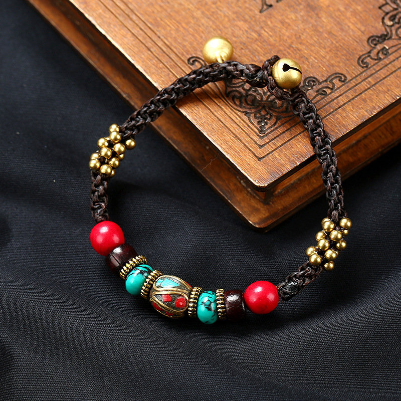 Original Ethnic Hand-made Exotic Nepalese Bead Wax Rope Bracelet Songshi Tibetan jewelry fou Women