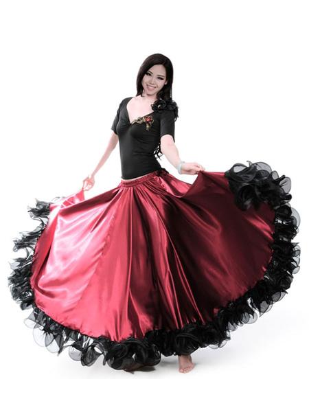Milanoo Burgundy Dance Costumes Female Flamenco Dress Billowing Mesh Adults Spanish Dancer Ballroom Dress Paso Doble Skirt Halloween
