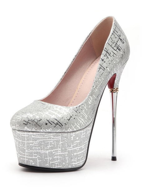 Milanoo Red Sexy Shoes Glitter Platform Almond Stiletto Heel Pumps Women High Heels
