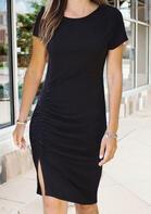 Ruffled Slit Mini Dress without Necklace - Black