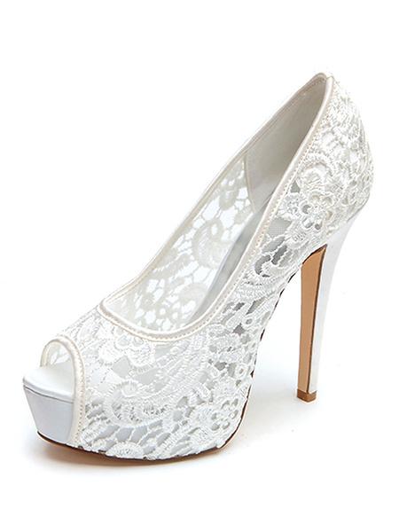Milanoo Wedding Shoes White Lace Peep Toe Stiletto Heel Platform Bridal Shoes