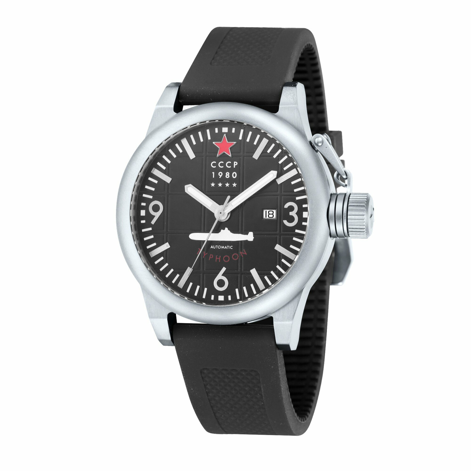 Cccp Men's Typhoon CP-7018-01 Silver Silicone Japanese Automatic Fashion Watch