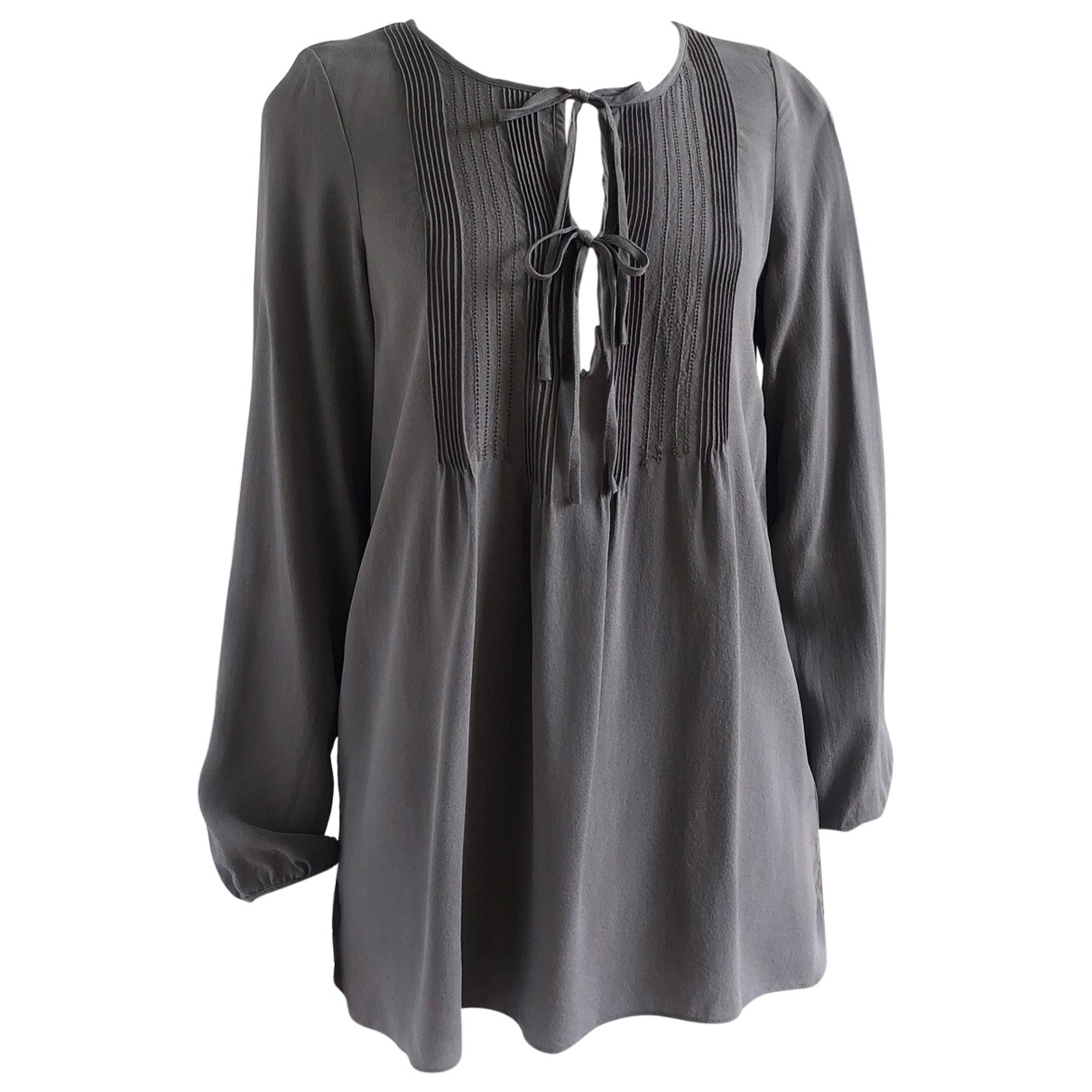 Non Signé / Unsigned \N Grey Silk  top for Women 8 UK
