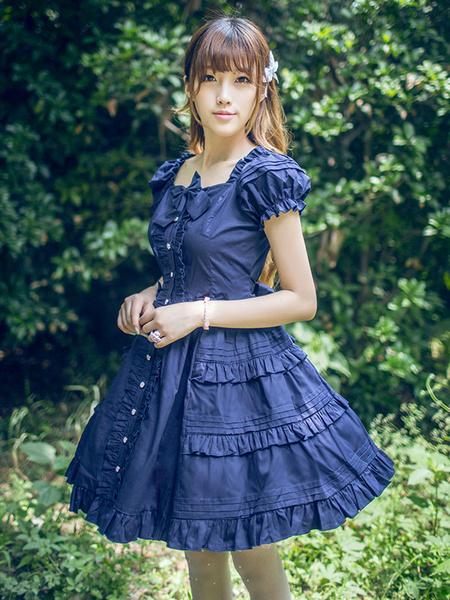 Milanoo Classical Lolita Dress Layered Ruffles Lolita Dress Short Sleeves Lolita Op Dress With Bows