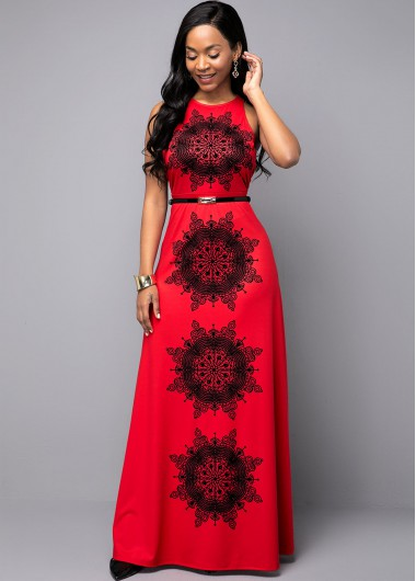 Women'S Red Ethnic Print Sleeveless Maxi Dress Tribal Printed Keyhole Back Belted Elegant Cocktail Party Dress By Rosewe - 18