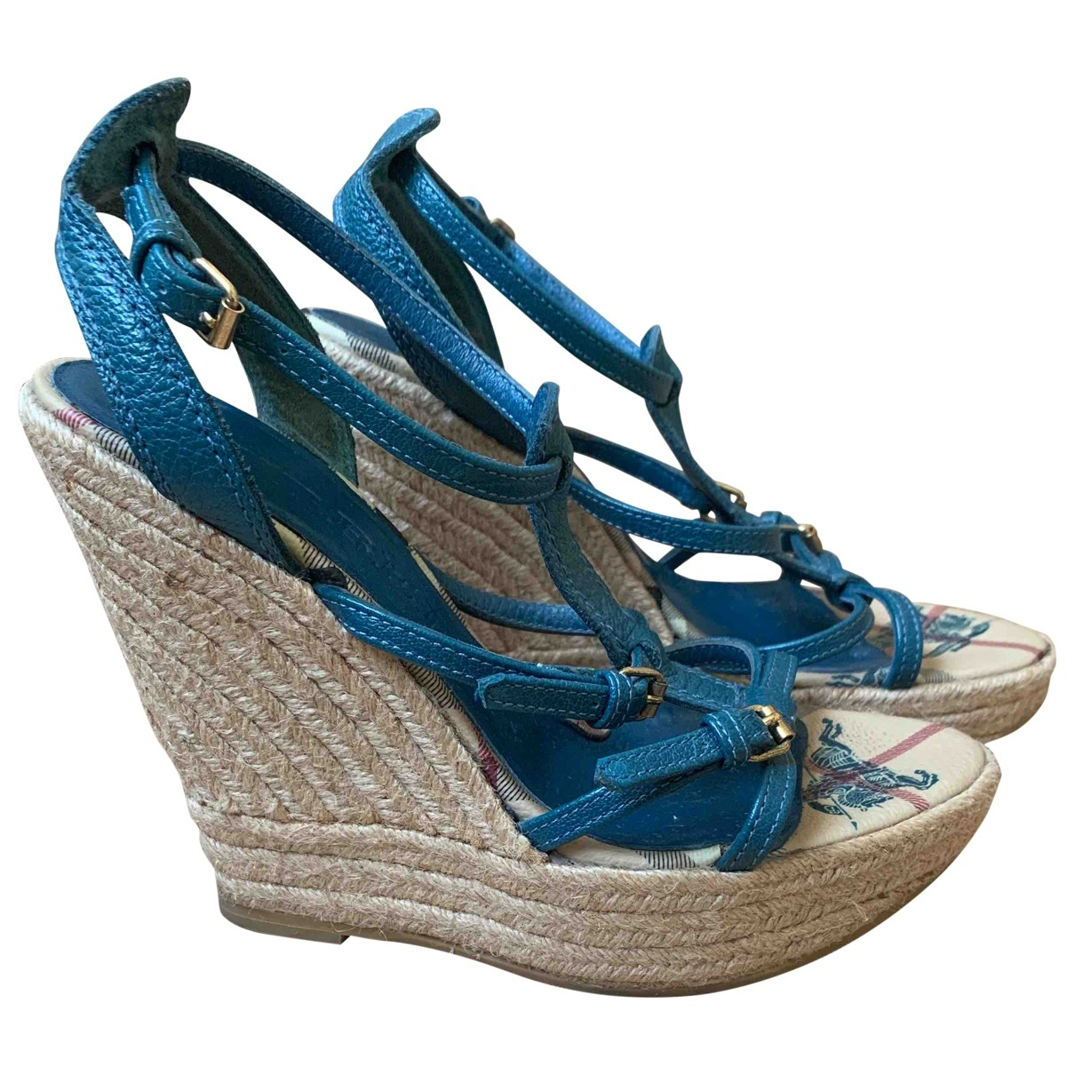 Burberry \N Blue Leather Sandals for Women 36 EU