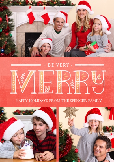 Christmas Photo Cards 5x7 Cards, Premium Cardstock 120lb with Scalloped Corners, Card & Stationery -Sprigs of Merry