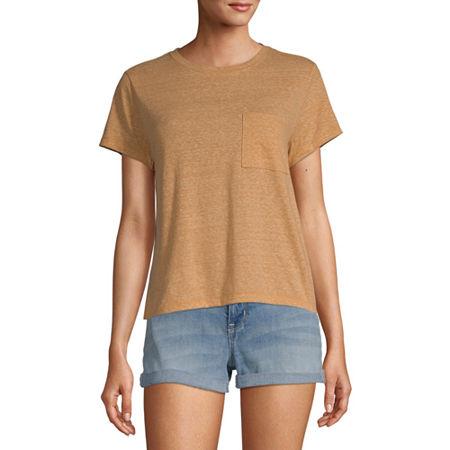 Arizona Juniors-Womens Crew Neck Short Sleeve T-Shirt, Medium , Yellow