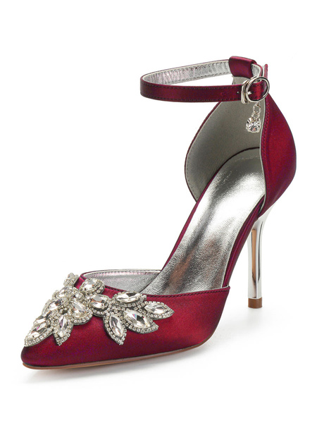 Milanoo Wedding Shoes Burgundy Satin Rhinestones Pointed Toe Stiletto Heel Bridal Shoes