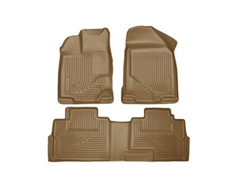 Husky Floor Liners Front & 2nd Row 07-15 Ford Edge/Lincoln MKX (Footwell Coverage) WeatherBeater-Tan