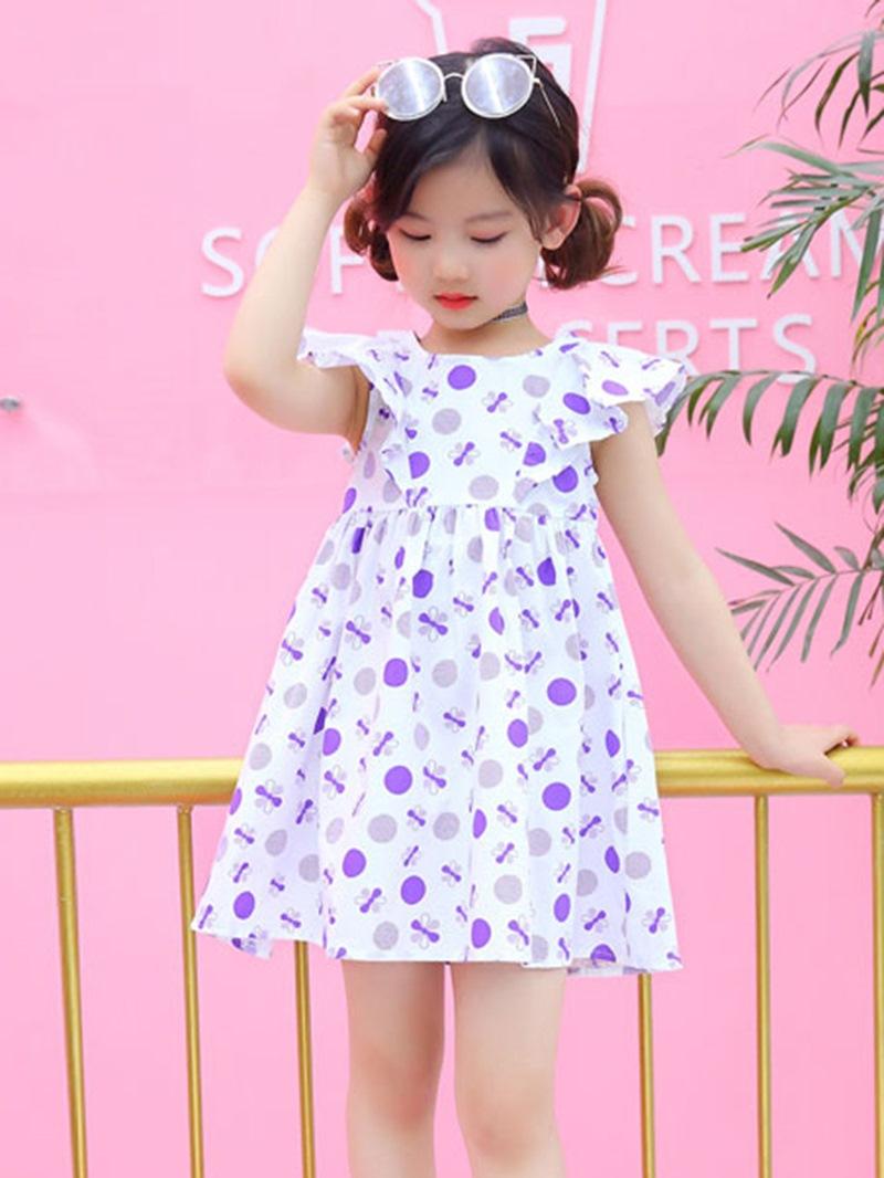 Ericdress Ruffle Sleeve Polka Dots Baby Girl's Summer Dress