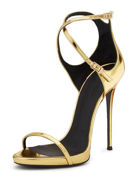 Milanoo Gold Prom Heels Ultra High Heel Strappy Sandals Criss Cross Wedding Shoes