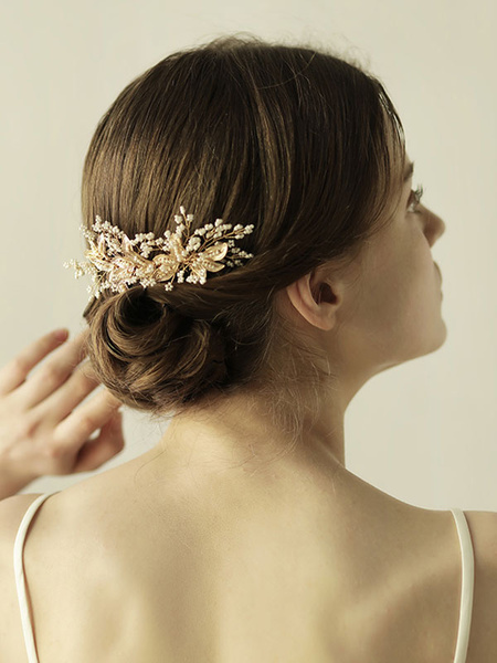 Milanoo Gold Wedding Headpieces Hair Clip Alloy Bridal Hair Accessories