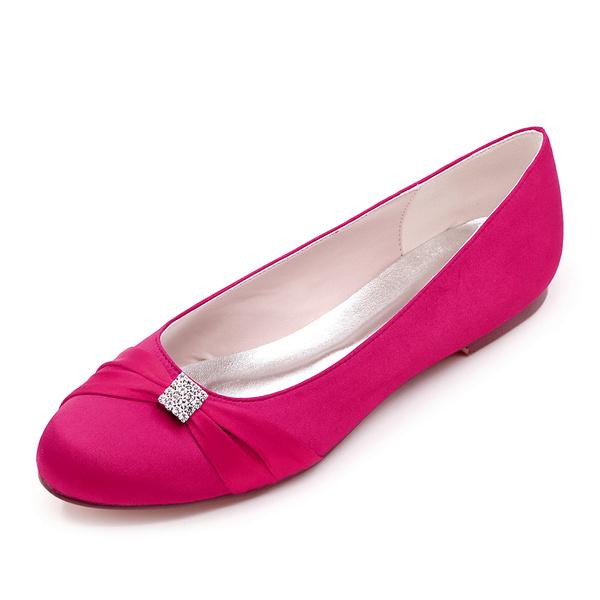 Milanoo Womens Wedding Shoes Rose Satin Bows Round Toe Flat Bridal Shoes