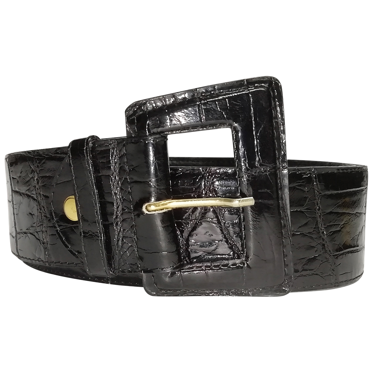 Non Signé / Unsigned \N Black Alligator belt for Women 90 cm