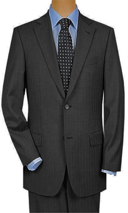 Mens Two Button Charcoal Gray Multi Mini Pinstripe Suit