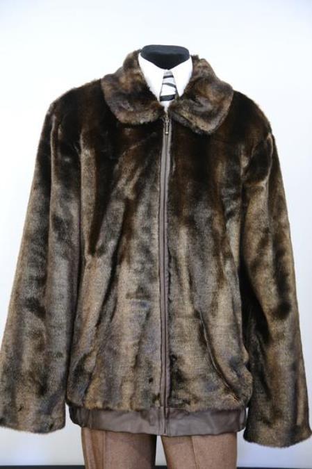 Mens Faux Leather Zipper Brown Notch Lapel Zoot Suit