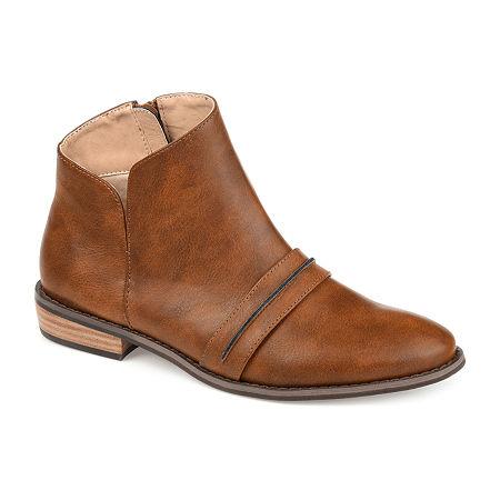 Journee Collection Womens Harlow Stacked Heel Booties, 7 Medium, Brown