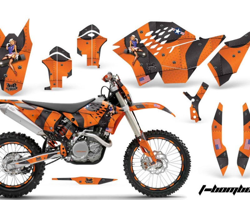AMR Racing Graphics MX-NP-KTM-C5-07-11-TB O Kit Decal Wrap + # Plates For KTM SX/XCR-W/EXC/XC/XC-W/XCF-W 2007-2011áTBOMBER ORANGE