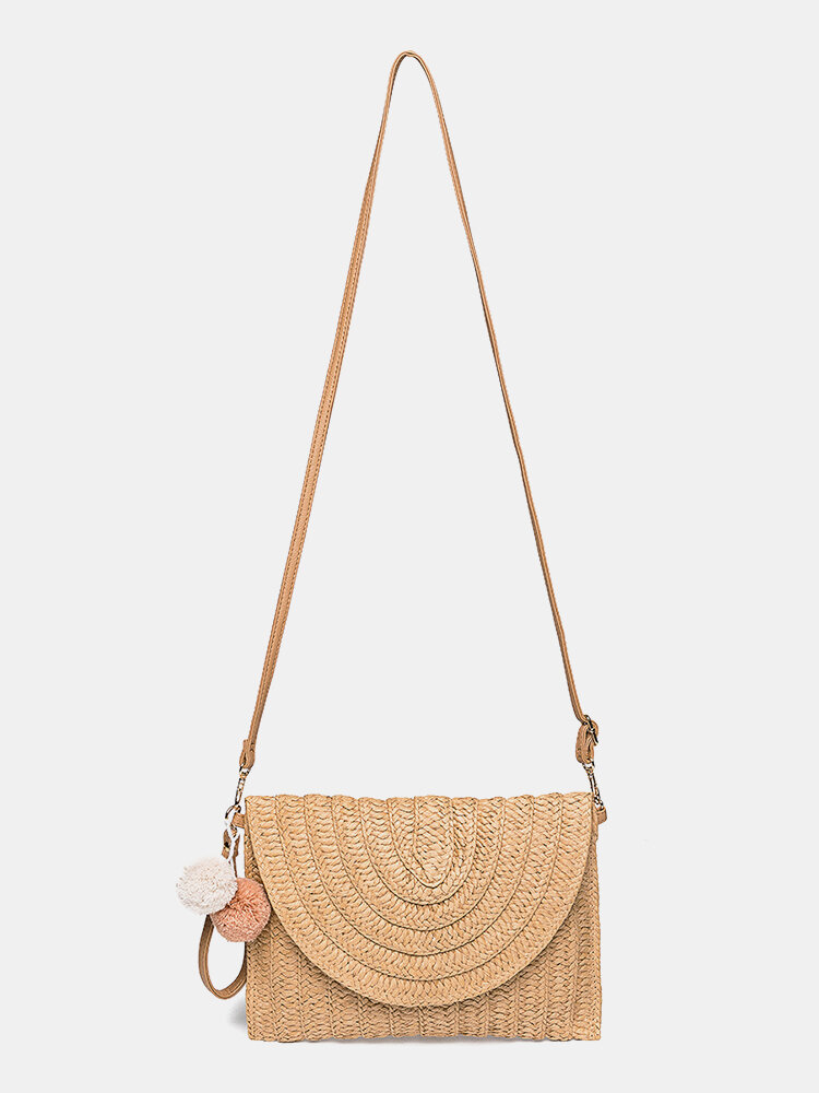 Women Fluffy Ball Flap Crossbody Bag Straw Bag Shoulder Bags