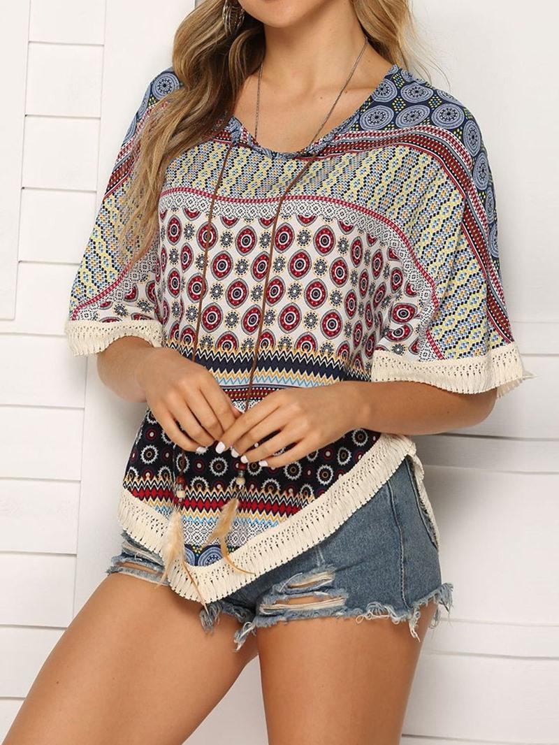 Ericdress Color Block Batwing Sleeve Print Casual T-Shirt